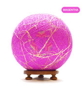 Salebrations Magentha Ball Table Lamp Shades Yarn With Banana Fiber And Wooden Base With Led Bulb