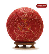 Salebrations Maroon Ball Table Lamp Shades Yarn With Banana Fiber And Wooden Base With Led Bulb
