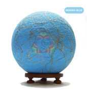 Salebrations Menaka Blue Ball Table Lamp Shades Yarn With Banana Fiber And Wooden Base With Led Bulb