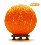 Salebrations Orange Ball Table Lamp Shades Yarn With Banana Fiber And Wooden Base With Led Bulb