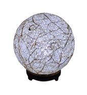 SALEBRATIONS BALL TABLE LAMP SHADES YARN WITH BANANA FIBER HOLES AND WOODEN BASE