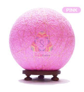 Salebrations Pink Ball Table Lamp Shades Yarn With Golden Yarn And Wooden Base With Led Bulb