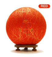 Salebrations Red Ball Table Lamp Shades Yarn With Golden Yarn And Wooden Base With Led Bulb