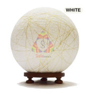 Salebrations White Ball Table Lamp Shades Yarn With Golden Yarn And Wooden Base With Led Bulb