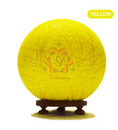 Salebrations Yellow Ball Table Lamp Shades Yarn With Golden Yarn And Wooden Base With Led Bulb