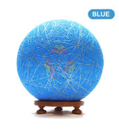 Salebrations Blue Ball Table Lamp Shades Yarn With Golden Yarn And Wooden Base With Led Bulb