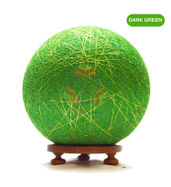 Salebrations Dark Green Ball Table Lamp Shades Yarn With Golden Yarn And Wooden Base With Led Bulb