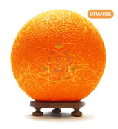 Salebrations Orange Ball Table Lamp Shades Yarn With Golden Yarn And Wooden Base With Led Bulb