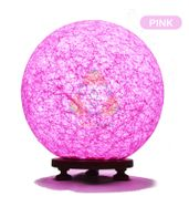 Salebrations Pink Ball Table Lamp Shades With Yarn And Wooden Base With Leb Bulb