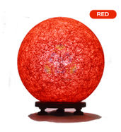 Salebrations Red Ball Table Lamp Shades With Yarn And Wooden Base With Leb Bulb