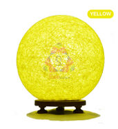 Salebrations Yellow Ball Table Lamp Shades With Yarn And Wooden Base With Leb Bulb