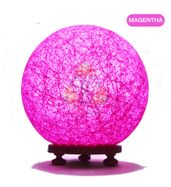 Salebrations Magentha Ball Table Lamp Shades With Yarn And Wooden Base With Leb Bulb