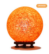 Salebrations Orange Ball Table Lamp Shades With Yarn And Wooden Base With Leb Bulb