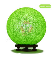 Salebrations Parrot Green Ball Table Lamp Shades With Yarn And Wooden Base With Leb Bulb