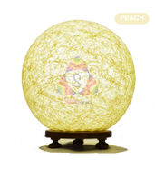Salebrations Peach Ball Table Lamp Shades With Yarn And Wooden Base With Leb Bulb