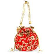 Red floral potli bag