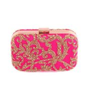 Bejewelled magenta clutch