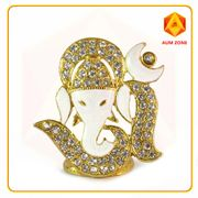 Om Ganesha White Studed Murthi