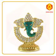 Ganesha on Half Moon Studed Murthi Green