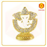 Ganesha on Half Moon Studed Murthi White