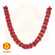 Red flower Garland with leaves