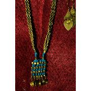 Hand-crafted Dokra - Sky Blue & Golden Neck-piece