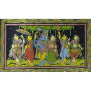 Krishna Radha with Gopis -Colored Pattachitra Painting