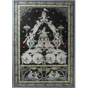 Krishna with Gopis - Black & White Pattchitra Painting