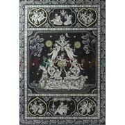 Krishna's Life Phases - Black & White Pattchitra Painting