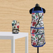 Floral Bird Printed Apron Glove Set by Dekor World
