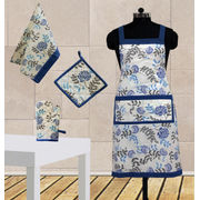 Elegant Floral Printed Apron (Set of 4 Pcs) by Dekor World (MORE COLOR)