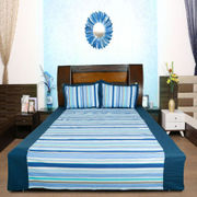Stripe Cotton Printed Bedsheet W/2 Pillow Covers-Pack of 3 Pcs  by Dekor World (MORE COLOR)