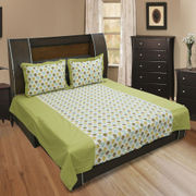 Cotton Printed Green Bedsheet Set-Pack of 3 Pcs by Dekor World