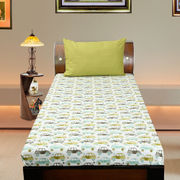 Cotton Car Printed Single Bedsheet Set W/Pillow Cover-Pack of 3 Pcs by Dekor World