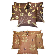 Dekor World Brown Combo Cushion Cover  (Pack Of 10)