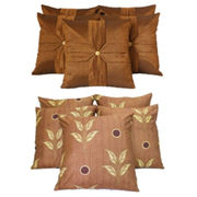 Dekor World Ultima Brown Combo. Cushion Cover(Pack of 10 Pcs)