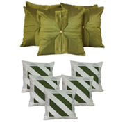 Dekor World Ultima Stripe Combo. Cushion Cover(Pack of 10 Pcs)