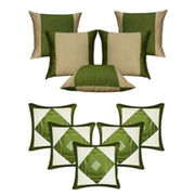 Dekor World Ultima Green Combo. Cushion Cover(Pack of 10 Pcs)