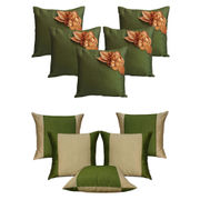 Dekor World Green Floral Combo. Cushion Cover(Pack of 10 Pcs)