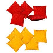 Dekor World Red Yellow Velvet Touch Combo. Cushion Cover (Pack of 10)