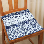 Ikat Printed Blue Cotton Chair Pad (pack of 1)