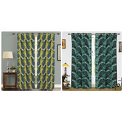 Cotton Go Green Curtain (Pack of 2)by Dekor World (More Colour)