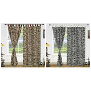 Cotton  Black White Loop Printed Curtain Set (Pack of 2)by Dekor World (More Colour)