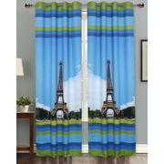 Eiffel Tower Digital Printed Blackout Curtain Set (Pack of 2 Pcs)by Dekor World