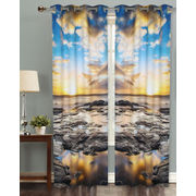 Sun Set Digital Printed Blackout Curtain Set (Pack of 2 Pcs)by Dekor World