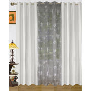 Solid Combo With Paris Print Sheer Eyelet Curtain (Pack of 3) by Dekor World  (More Colour)