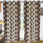 Double Damask Curtain-Pack of 2 by Dekor World (More Colour)