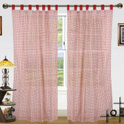 Polka Dot Printed Cotton Loop Curtain Set (Pack of 2 Pcs)by Dekor World (More Colour)