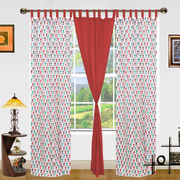 Floral Printed Cotton Loop Curtain Set (Pack of 3)by Dekor World (More Colour)