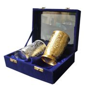Dekor World Silver Golden Plated Glass Set